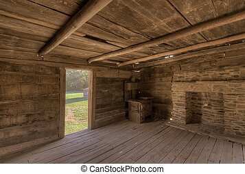Old log cabin - interior of an old log cabin