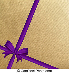Brown wrapping paper purple ribbon - Brown wrapping paper...