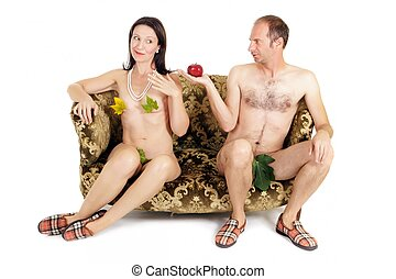 naked couple temptation - man giving red apple to woman,...