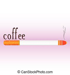 cigarette with coffee bean word illustration vector symbol