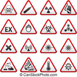 Set Triangular Warning Hazard Sign - Triangular Warning...