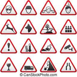 Triangular Warning Hazard  Signs set, design element