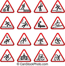 Set dimensional Warning Hazard Sign - Set of...
