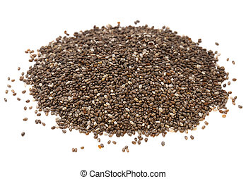 chia seed pile - a heap of organic chia seeds rich in...