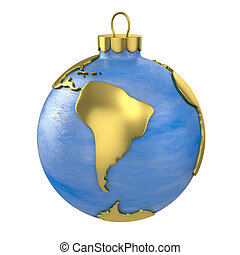 Christmas ball shaped as globe or planet, South America part