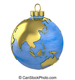 Christmas ball shaped as globe or planet, Asia part