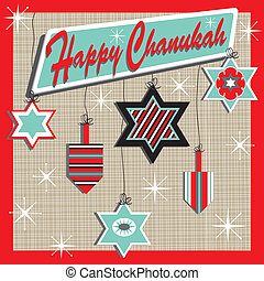 Retro Chanukah Card - Retro inspired Chanukah Card with...