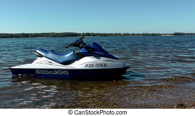 Waverunner near the shore of Volga river Russia Samara