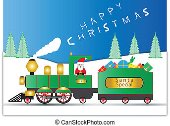 Father Christmas and Railroad Engin - Santa Claus in a Green...