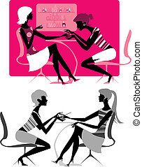 Manicure - Vector illustration of a girl doing manicure at...