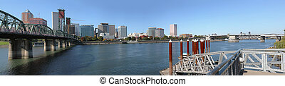 A panorama of Portland Oregon skyline and bridges - A...
