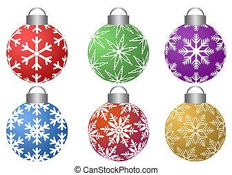 colorfull, Ornamentos, Copos de nieve, patrón