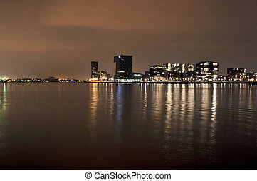 Rotterdam night view to Maas river and Euromacht