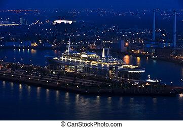 Rotterdam night aerial view