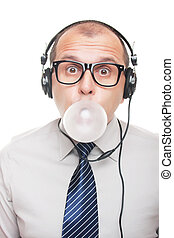 Man with headphones - Business man with headphones isolated...