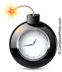 Clock in a bomb Illustration on white background