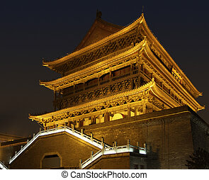 illuminated Drum Tower in Xian