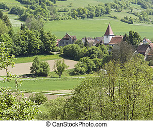 small village in Hohenlohe - high angle view of a idyllic...