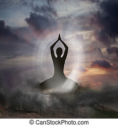 Yoga and Spirituality - Silhouette of a Person practising...