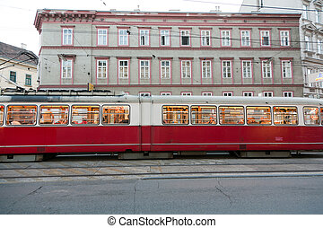 vintage tram in Vienna in motion