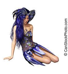 Dreamy - A fairylike young Lady in indigo-blue dress and...