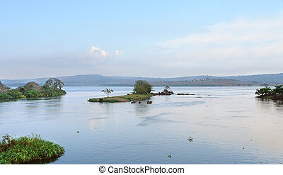 near River Nile source in Africa - idyllic waterside scenery...