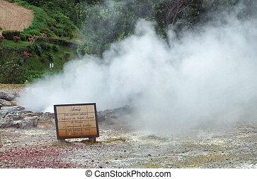 steamy hot spring