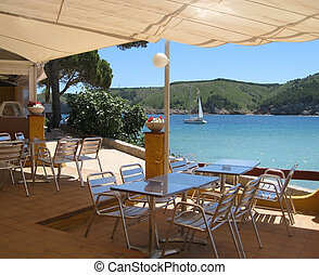 holiday scenery with beach bar