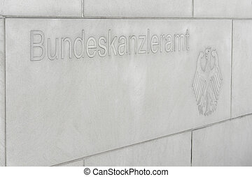 Federal Chancellery script nameplate - script nameplate of...