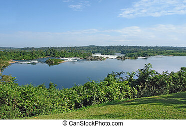 River Nile scenery near Jinja in Uganda - sunny pictorial...