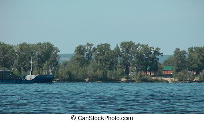 Barge at the Volga river. Samara. Russia.