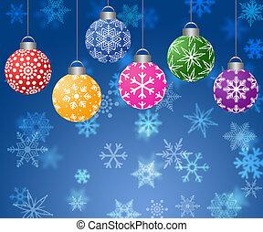 Hanging Ornaments on Blurred Snowflakes Background...