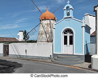 windmill at Sao Miguel Island - traditional windmill and...
