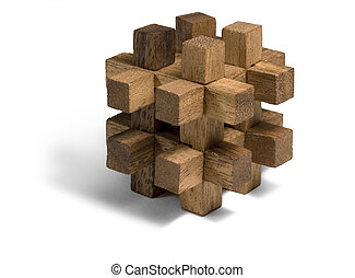 wooden 3D puzzle - studio photography of a wooden 3D-puzzle...