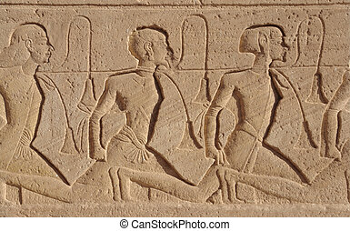 relief at Abu Simbel temples - architectural detail of the...
