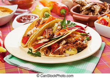 pollo, ensalada, Taco, conchas