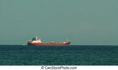 Big barge near the Rhodes sea port. Rhodes island. Greece.