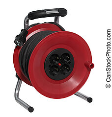 red plastic cable reel - studio photography of a red cable...