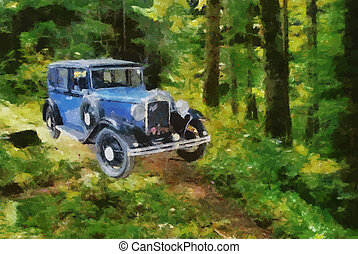 Vector Vintage cars oil painting - Vector Austin Berkeley...