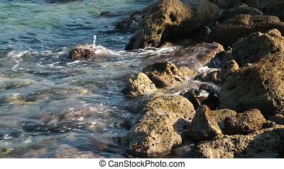 sea water - Aegean sea water waves. Closeup view on clean...