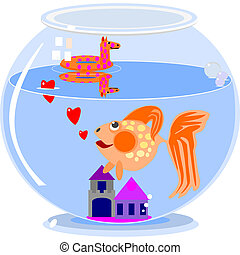 Love in a fish bowl - Illustration of a cartoon goldfish...