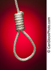 Hangmans Noose Over Red Background - Hangmans Noose Over Red...
