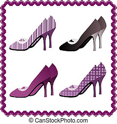Four pairs of shoes framed by viole