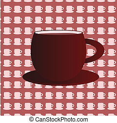 Coffee cups background with big cup
