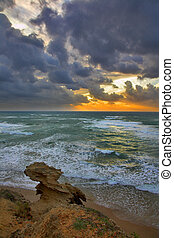 Mediterranean sea - A storming sunset in the winter on...