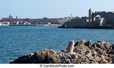 Rhodes port - Rhodes city port. Rhodes island. Greece.
