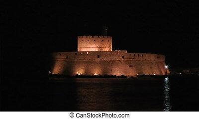 Night Rhodes fort - Fort in rhodes port Rhodes island Greece...