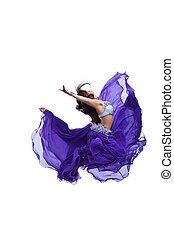 Young girl jump in purple oriental eastern veil - beauty...