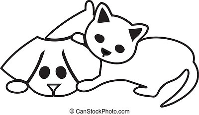 Cute cat and dog silhouettes logo