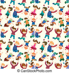 cartoon child jump seamless pattern